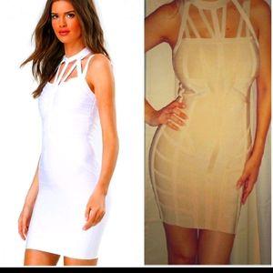 Bebe beige small bandage dress